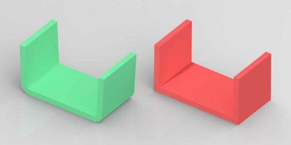 kunststofontwerp lossing of lossingshoeken